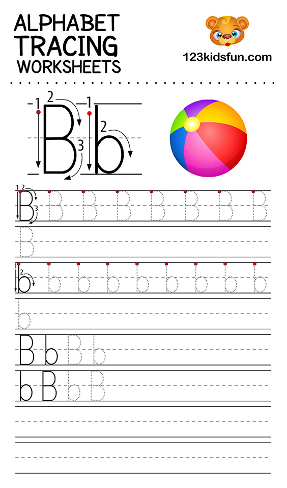 Alphabet Tracing Worksheets A Z Free Printable For Kids 123 Kids Fun Apps