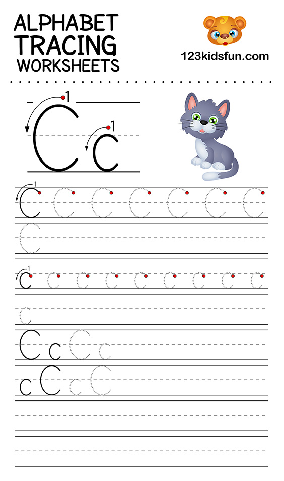 Alphabet Tracing Worksheets A-Z free Printable for Kids ...