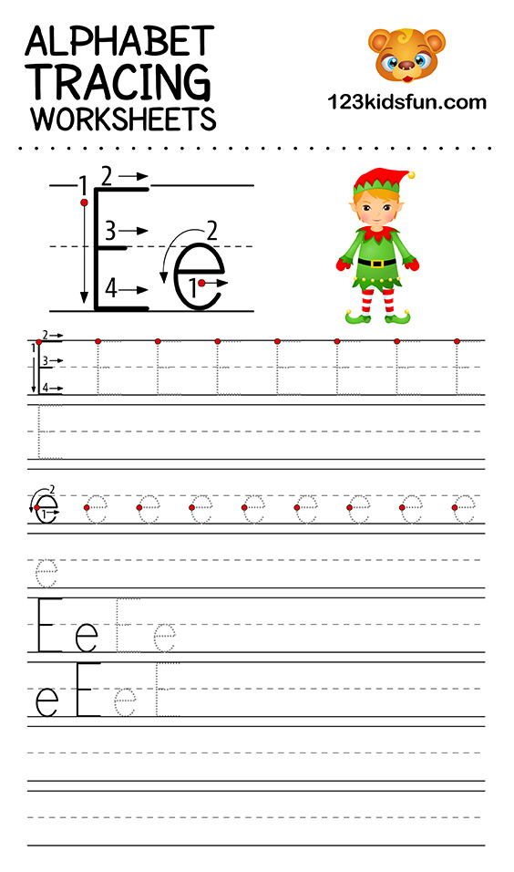 Alphabet Tracing Worksheets A-Z Free Printable For Kids. 123 Kids Fun Apps