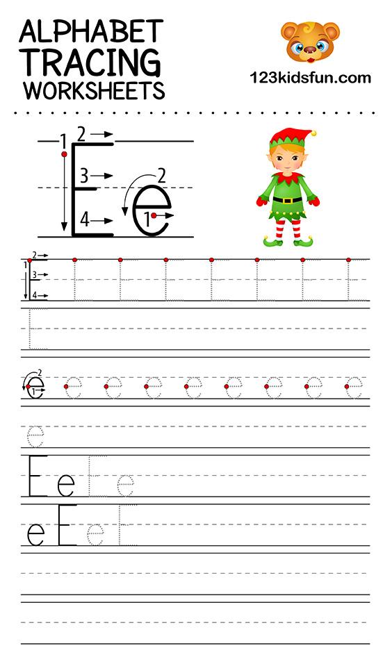 alphabet tracing e