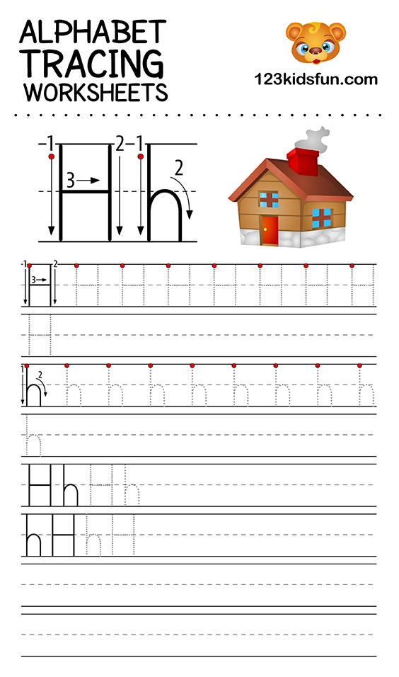 alphabet tracing h