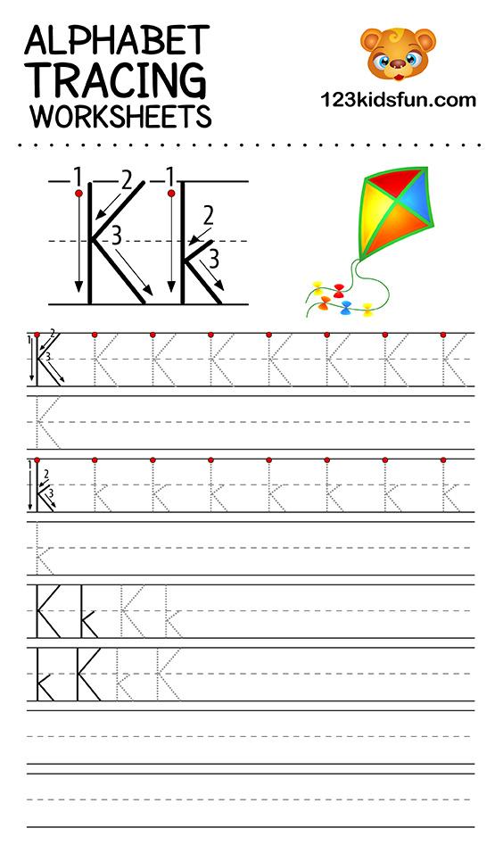 alphabet tracing k