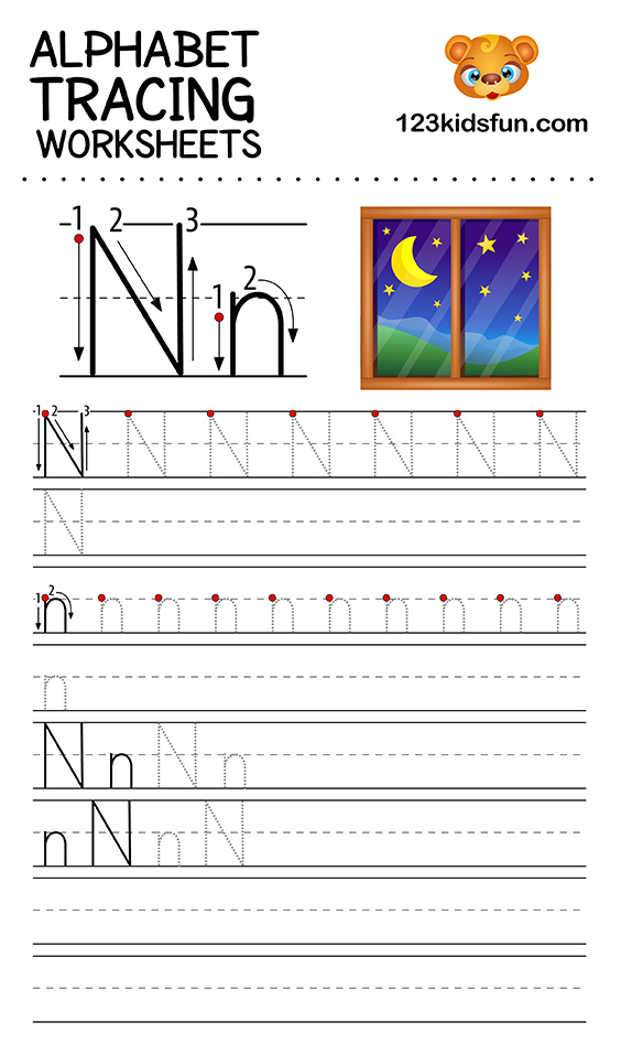 alphabet tracing n