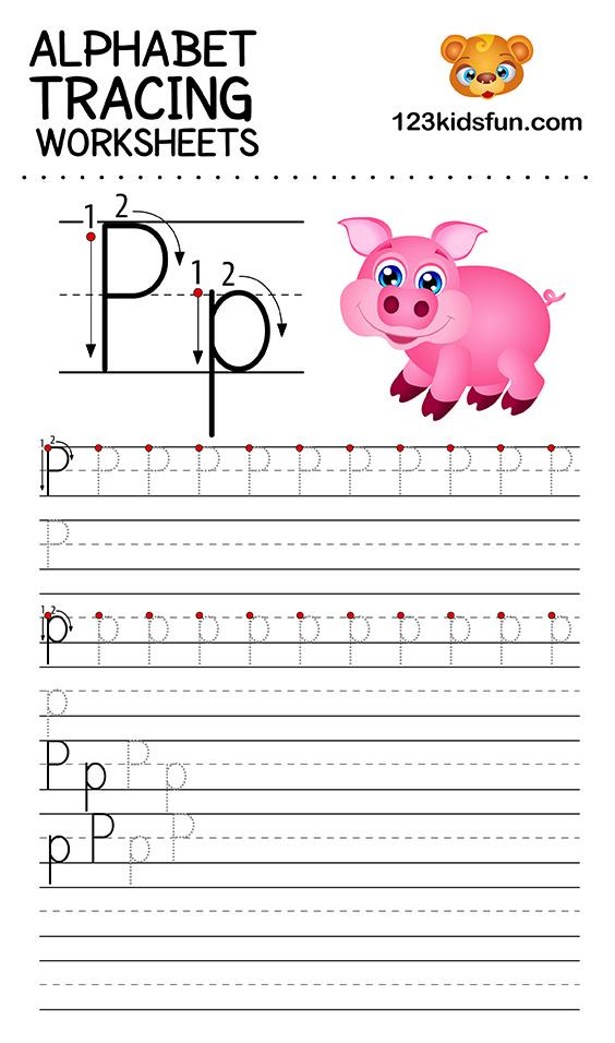alphabet tracing p
