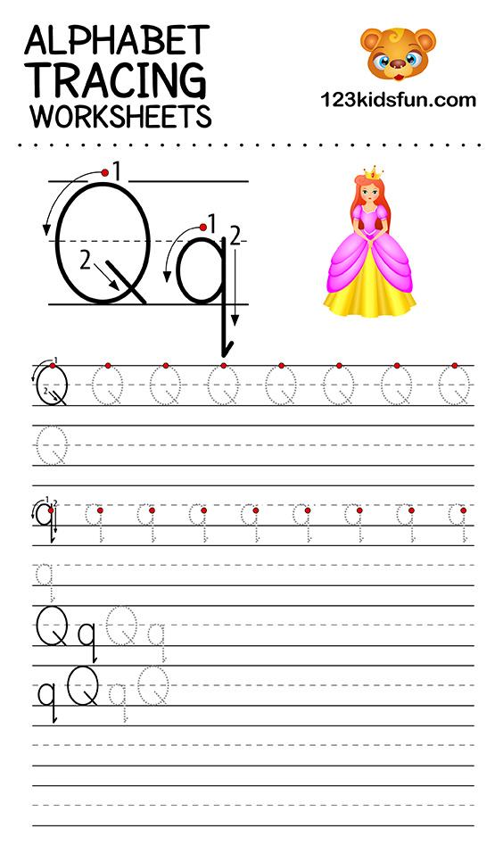 alphabet tracing q
