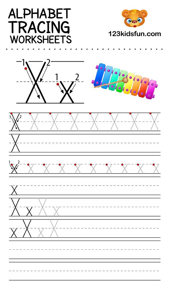 alphabet tracing x