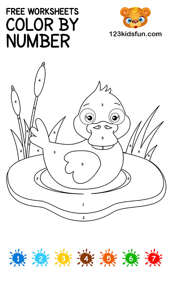 Free Color By Number Printable Coloring Pages For Kids 123 Kids Fun Apps