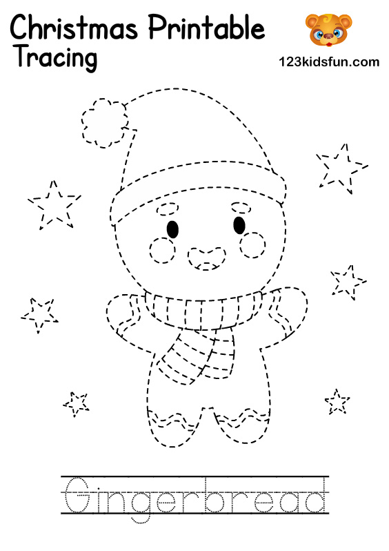 Gingerbread - Christmas Tracing Printable