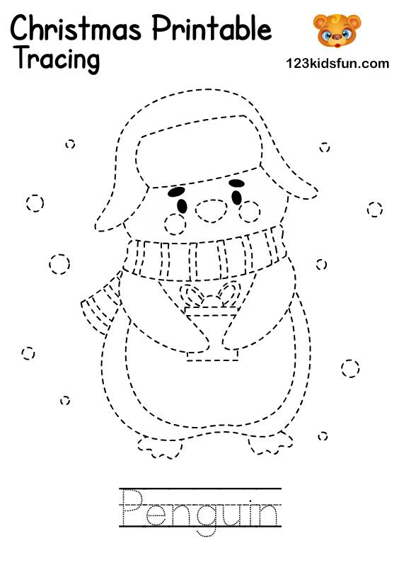 Penguin - Christmas Tracing Printable