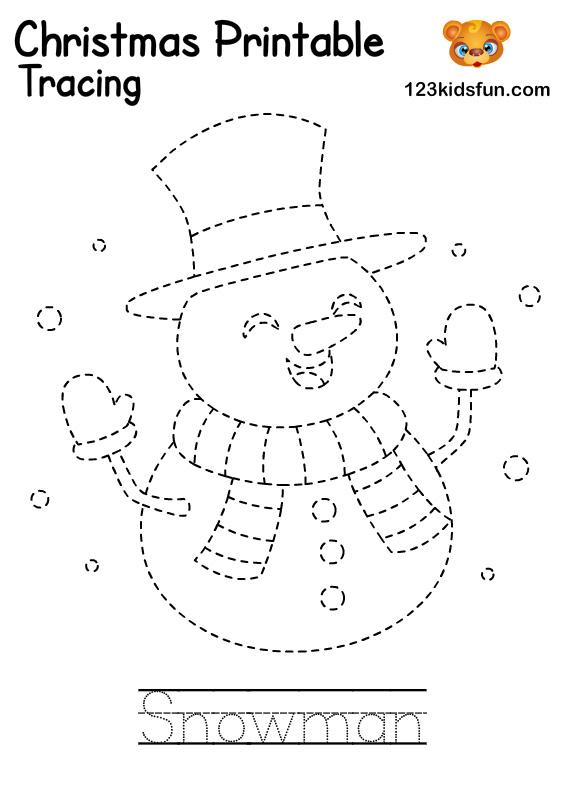 Snowman - Winter Tracing Word Printable