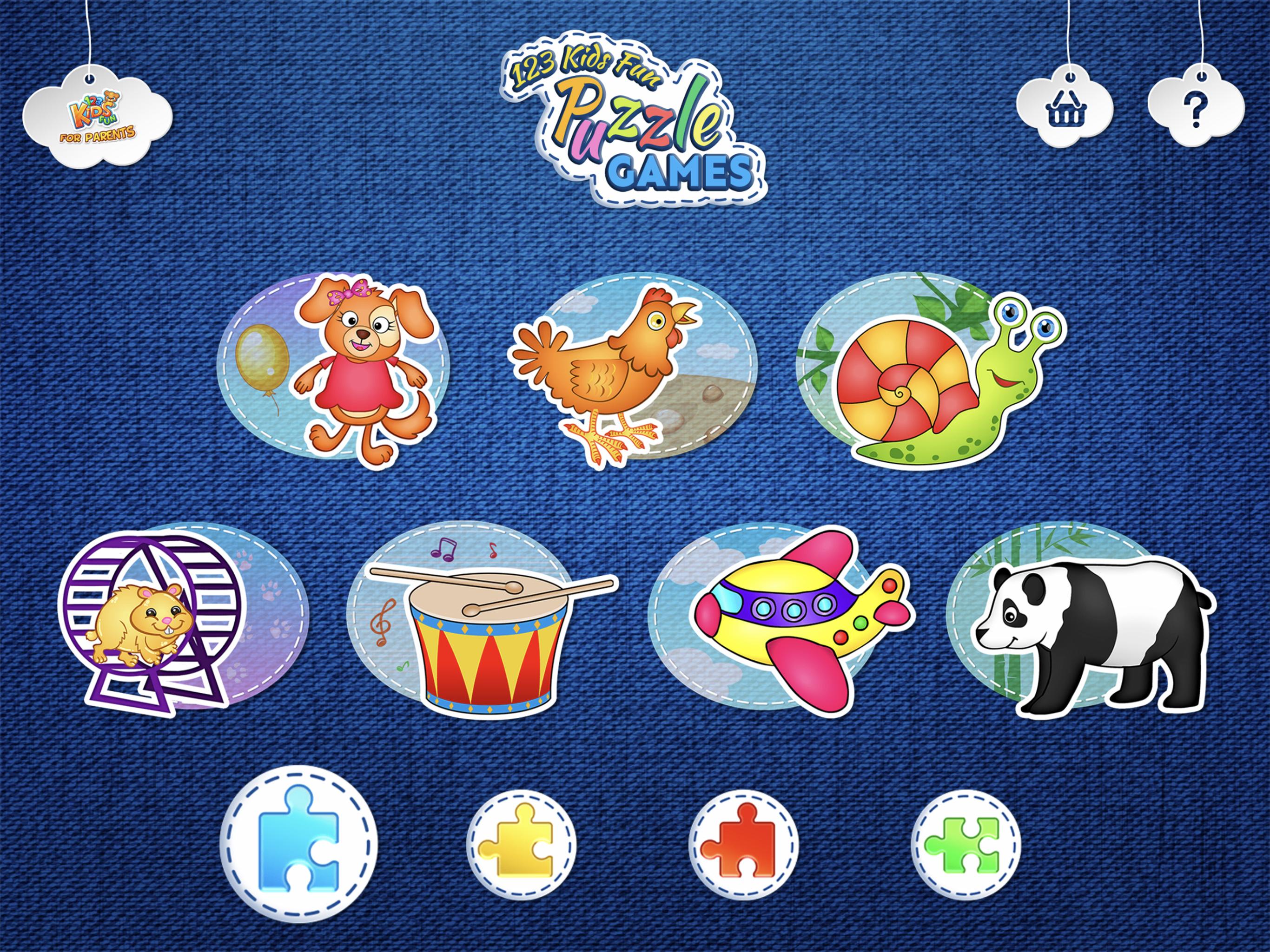 123 Kids Fun Puzzle Games - menu