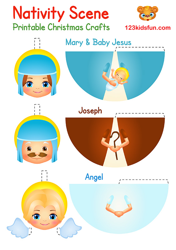 Printable Christmas Crafts for Kids - Mary, Baby Jesus, Joseph, Angel