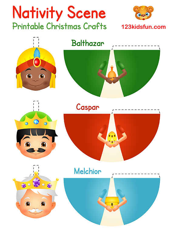 Printable Christmas Crafts for Kids - Caspar, Melchior, Balthazar