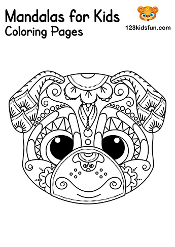 Easy Mandala Dog Coloring Pages - Free Printable Mandalas for Kids