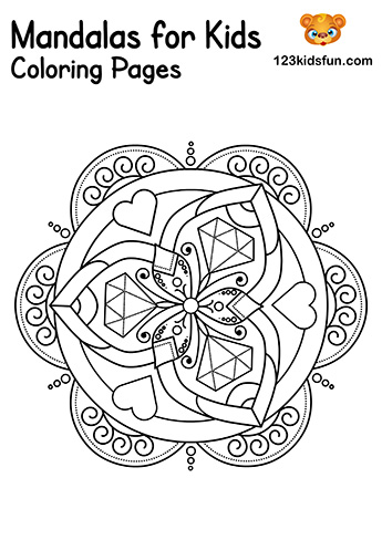 Easy Mandala Hearts Coloring Pages - Free Printable Mandalas for Kids