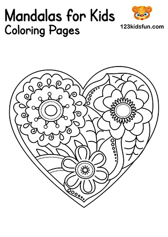 Easy Mandala Heart Coloring Pages - Free Printable Mandalas for Kids