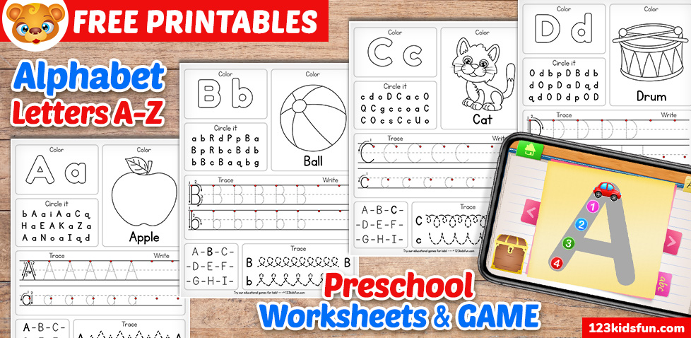 Free Alphabet Practice A-Z Letter Worksheets 123 Kids Fun Apps