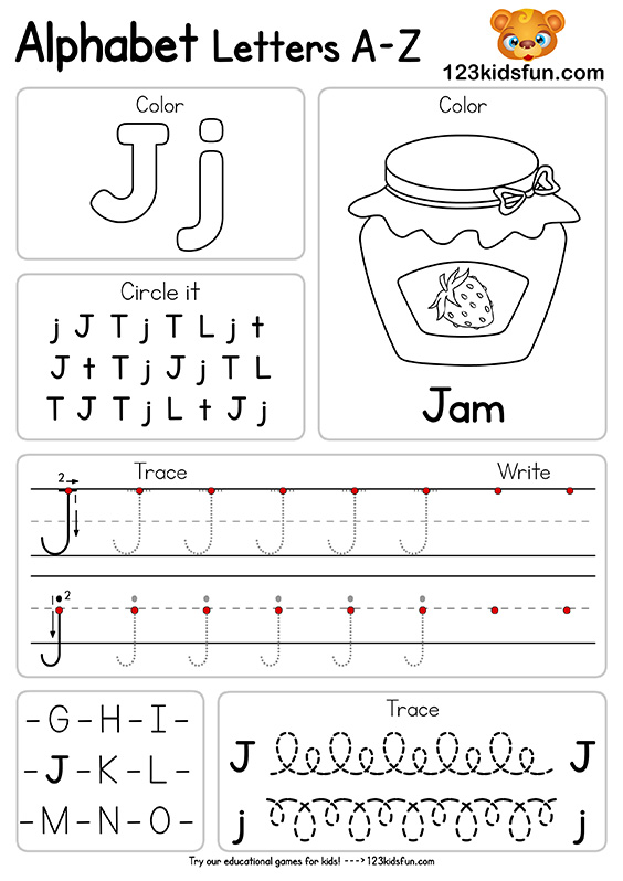 Free Alphabet Practice A-Z Letter Preschool Printable Worksheets to Learn for Kids