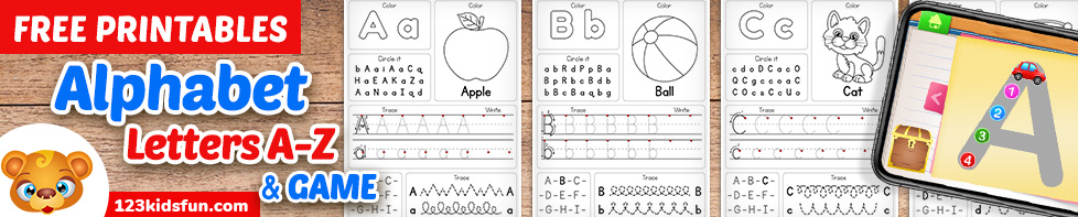 Free Alphabet Practice A-Z Letter Preschool Printable Worksheets and Games for Kids