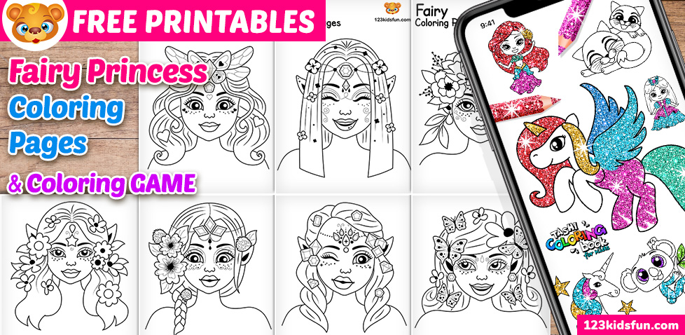 Free Printable Fairy Princess Coloring Pages For Kids 123 Kids Fun Apps