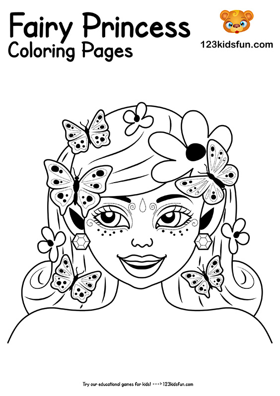 Free Printable Fairy Princess Coloring Pages for Girls