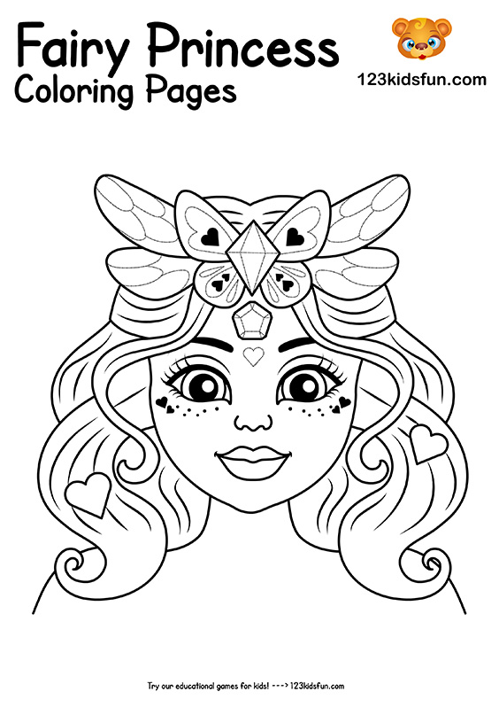 Free Printable Fairy Princess Coloring Pages For Girls 123 Kids Fun Apps