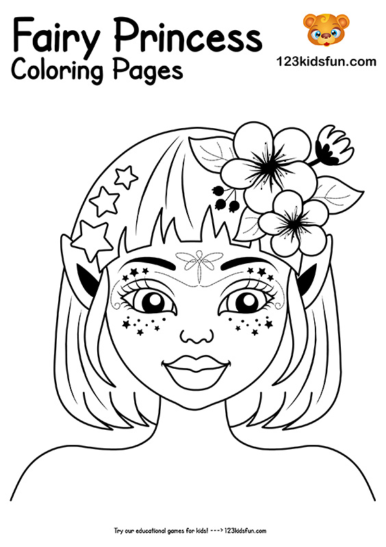 Beautiful Fairy Princess Coloring Pages