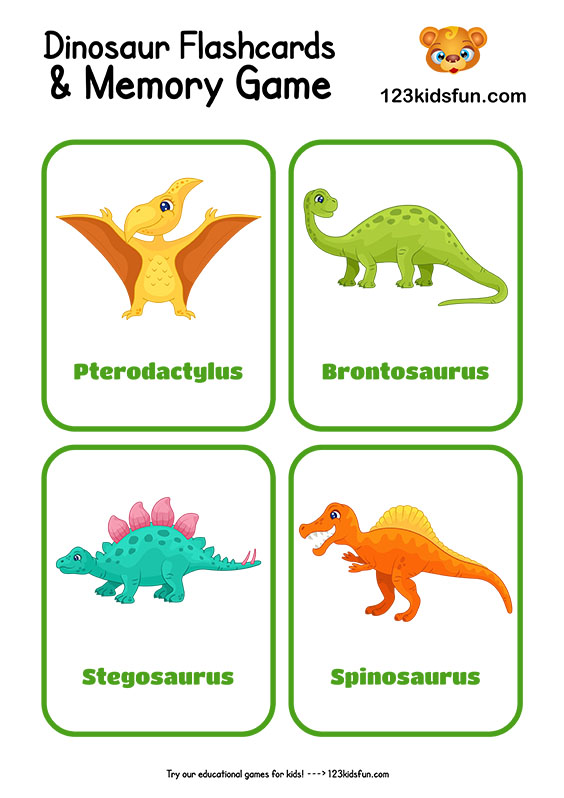 Free Printable Dinosaur Flashcards and Memory Game for Kids
