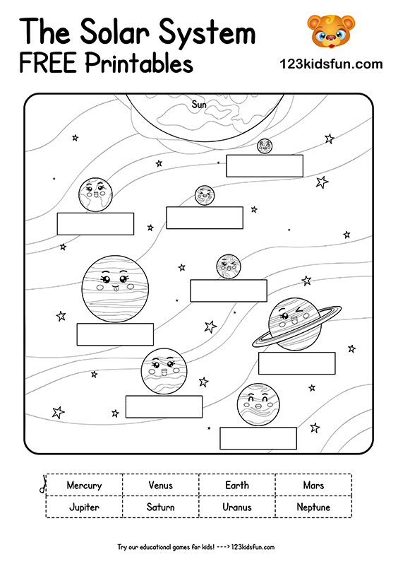 Solar System and Planets Worksheets for Kids