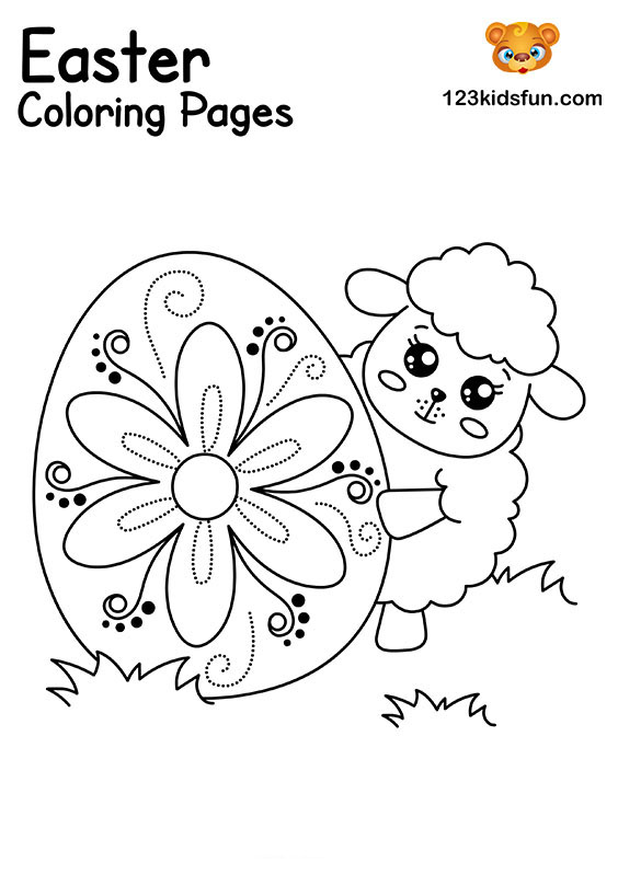 Easter Lamb - Easter Coloring Pages