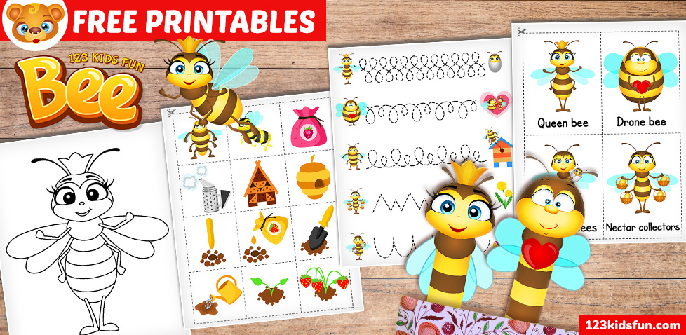 spring free printables for kids with bees