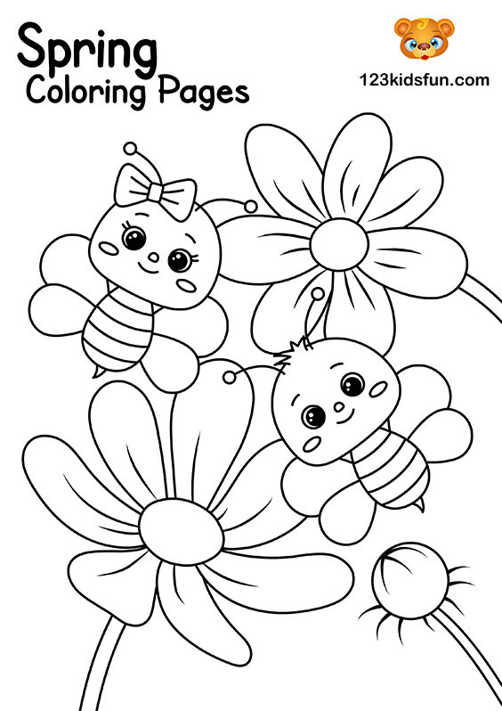 Bees and Flowers - Spring Coloring Pages