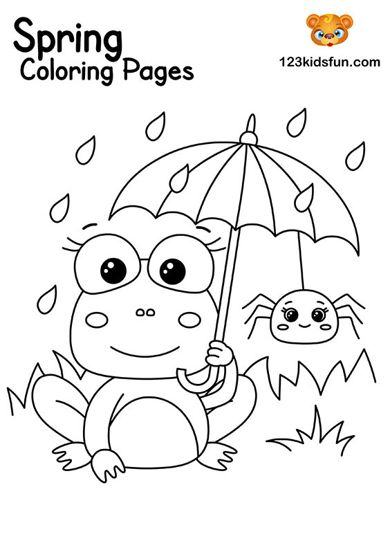 Spring Frog - Spring Coloring Pages for Kids