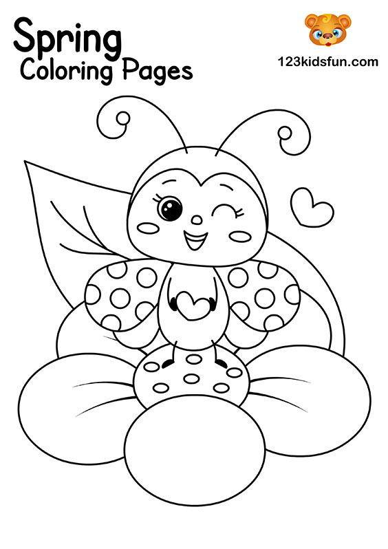 Ladybug - Spring Coloring Pages for Kids