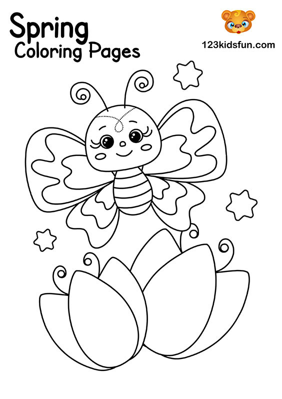 Spring Butterfly - Coloring Pages for Kids