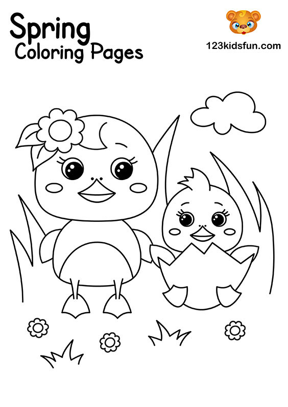 Sweet Ducks - Spring Coloring Pages for Kids