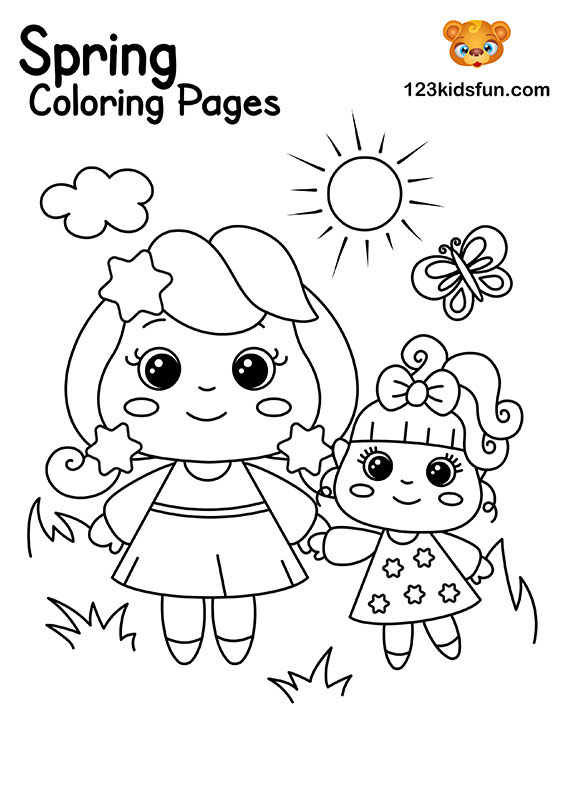 Happy Kids - Spring Coloring Pages for Kids