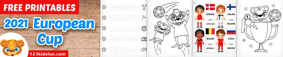 2021 European Cup - Free Printable Football Worksheets for Kids.