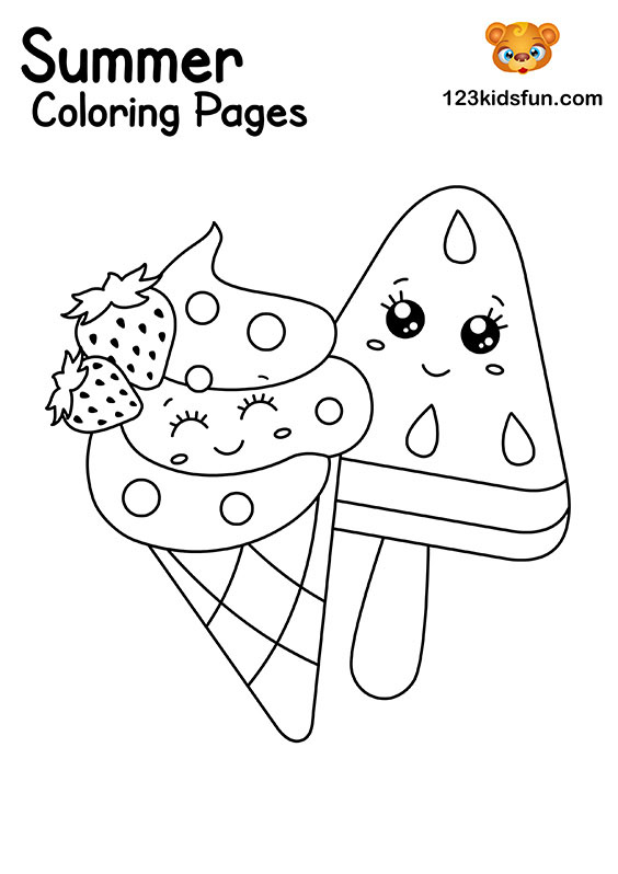 Ice Cream Summer Coloring Pages for Kids