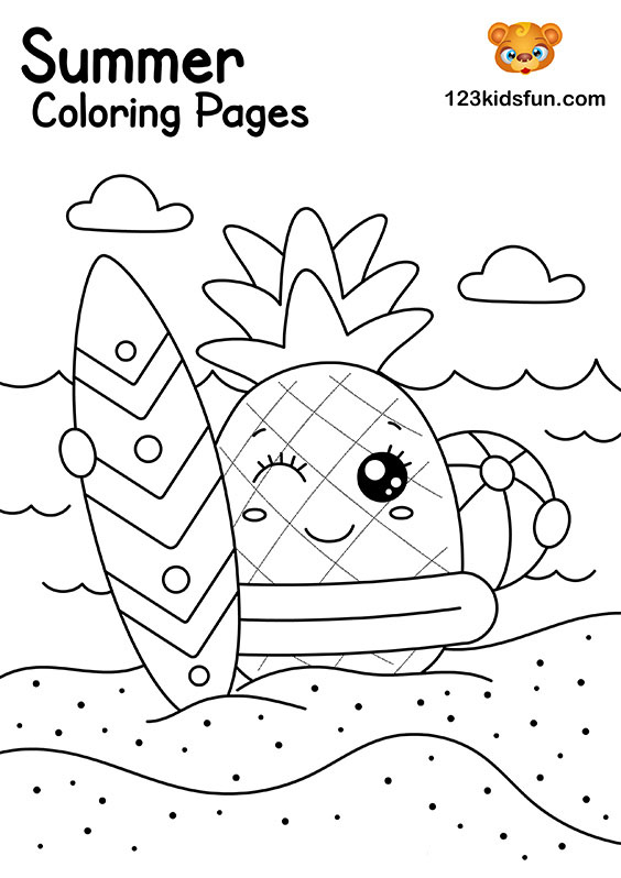 Surfing In The Summer Coloring Pages for Kids