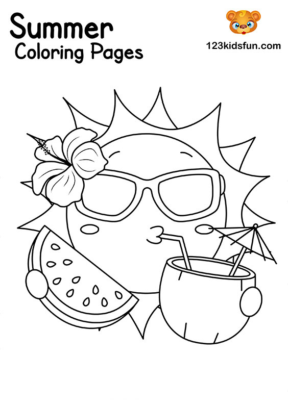 Summer Sun Coloring Pages for Kids