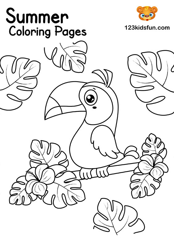 Summer Bird Coloring Pages