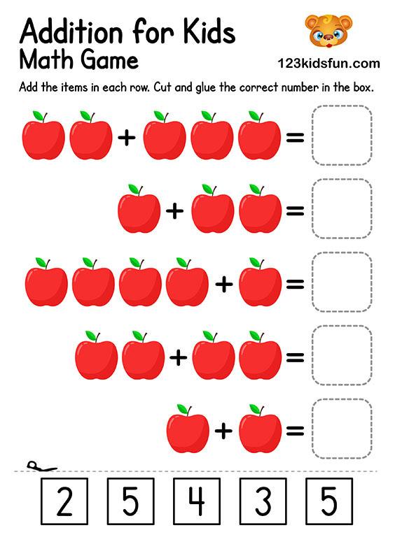 Free Printable Preschool & Kindergarten Simple Math Worksheets - Addition for Kids
