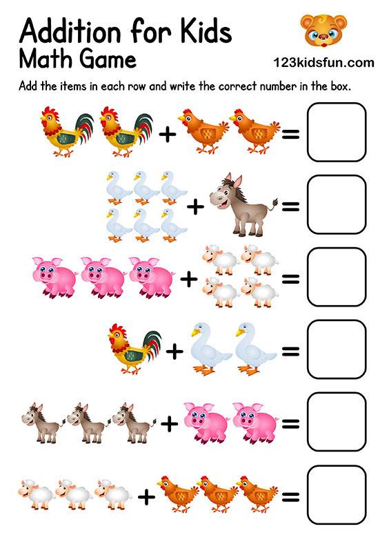 Free Printable Preschool & Kindergarten Math Worksheets - Addition for Kids