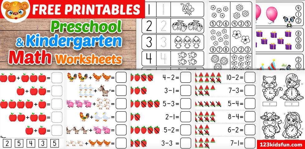 Free Preschool & Kindergarten Simple Math Worksheets