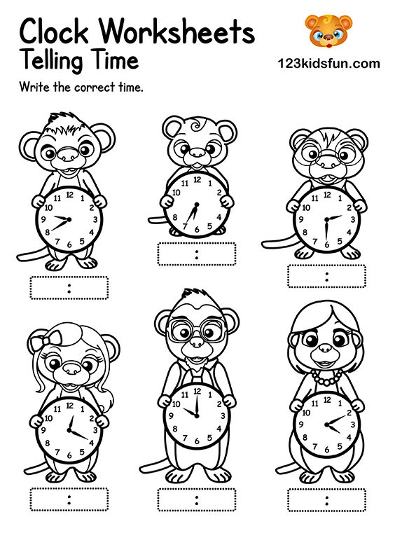 Free Clock Worksheets for Kids - Telling Time