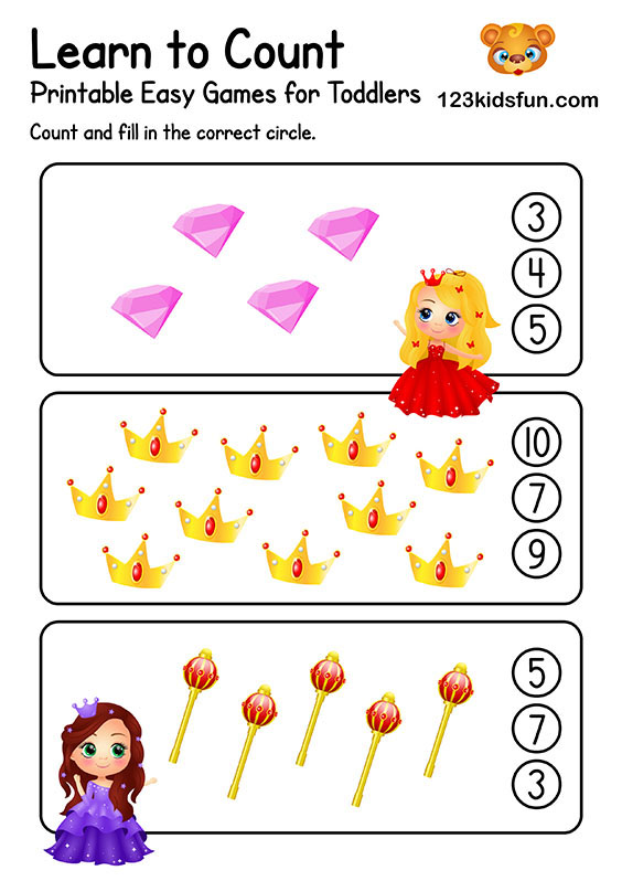 Learn to Count - Free Preschool Math Worksheets