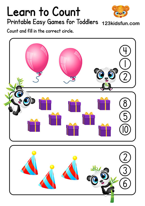 Learn to Count - Free Preschool Simple Math Worksheets
