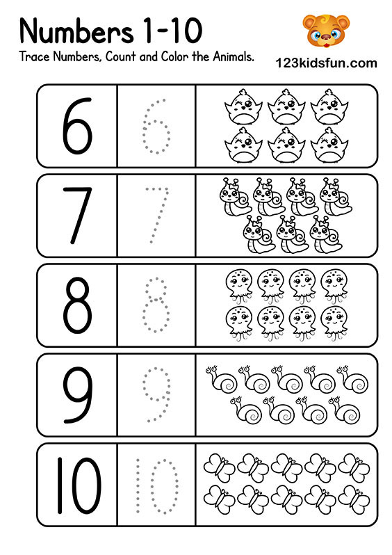 Preschool Math Worksheets Numbers 1-10 - Trace Numbers, Count and Color