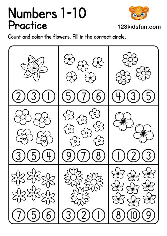 Preschool Math Worksheets - Count and Color